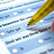 Ausschnitt aus einem Fragebogen mit Kugelschreiber