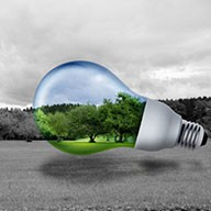 Illustration einer Energiesparlampe vor einer grünen Wiese